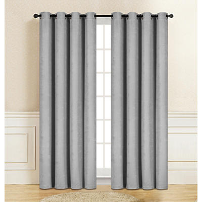 "Gianna Jacquard 84"" Window Panel Pair with Grommets - Light Gray"