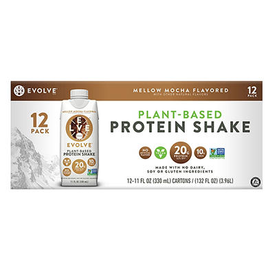 EVOLVE Real Plant-Powered Protein Shake, Mellow Mocha, 12 pk./11 oz.
