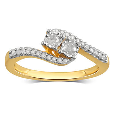.25 ct. t.w. Diamond Bypass Ring in Yellow-Plated Sterling Silver, Siz