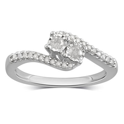 .25 ct. t.w. Diamond Bypass Ring in Sterling Silver, Size 8