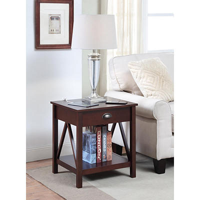 Side Table with USB Ports  - Dark Walnut