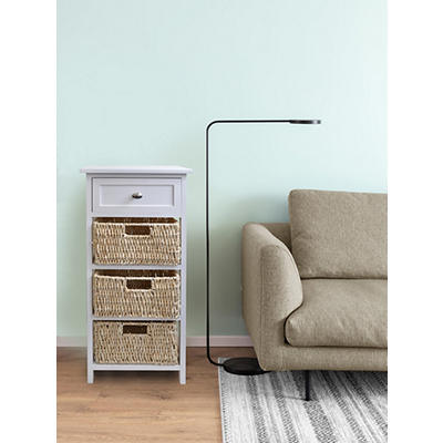 4-Tier Wood Storage Cabinet with Basket Drawers - White