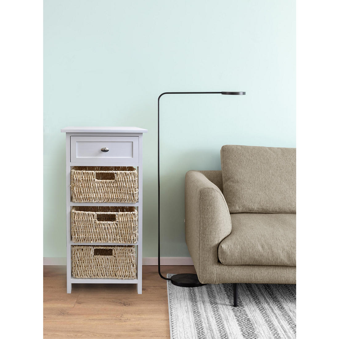 4 Tier Wood Storage Cabinet With Basket Drawers White