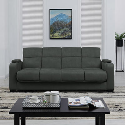 Handy Living Storage Arm Convert-a-Couch Microfiber Sleeper Sofa - Gra