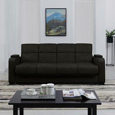 Handy Living Storage Arm Convert-a-Couch Microfiber Sleeper Sofa - Bla