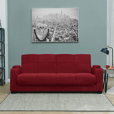 Handy Living Storage Arm Convert-a-Couch Microfiber Sleeper Sofa - Red