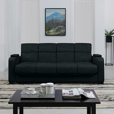 Handy Living Storage Arm Convert-a-Couch Microfiber Sleeper Sofa - Blu