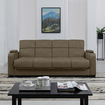 Storage Arm Convert-a-Couch Microfiber Sleeper Sofa - Sage