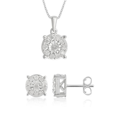 1.00 ct. t.w. Diamond Earring and Pendant Set in Sterling Silver
