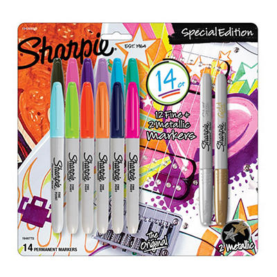 Sharpie Fine Permanent Markers, 12 ct. + 2 Bonus Metallic