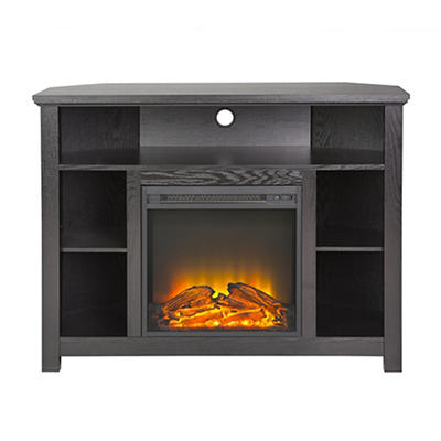 "W. Trends 44"" Corner Fireplace Highboy Stand - Black"