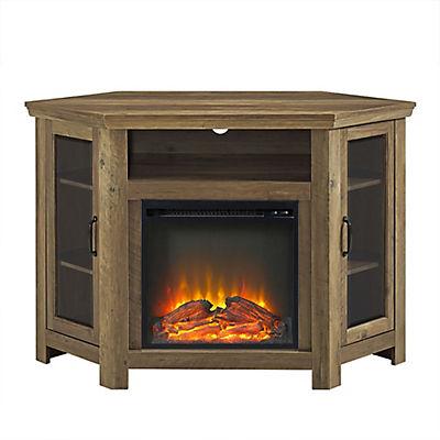 "W. Trends 48"" Corner Fireplace TV Stand - Rustic Oak"