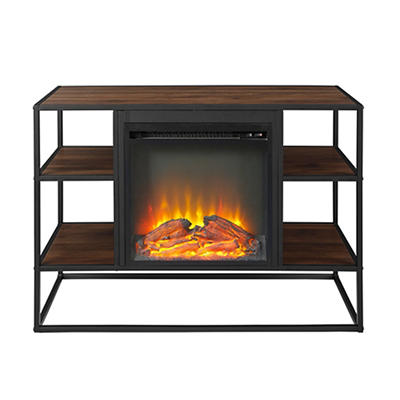 "W. Trends 40"" Shelf Fireplace Stand - Dark Walnut"