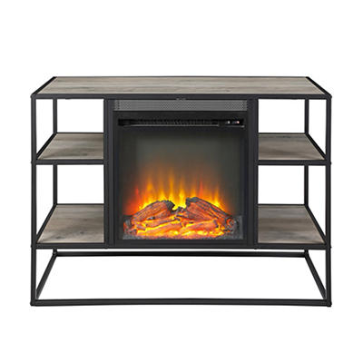 "W. Trends 40"" Shelf Fireplace Stand - Gray Wash"