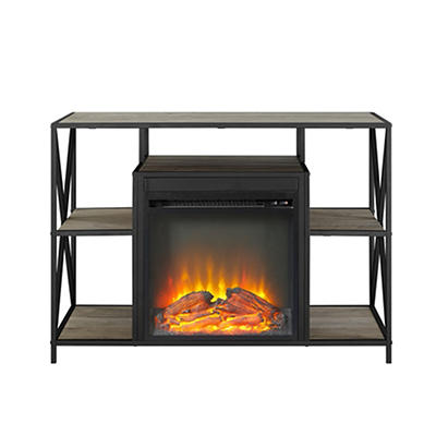 "W. Trends 40"" X-Frame Fireplace Stand - Gray Wash"