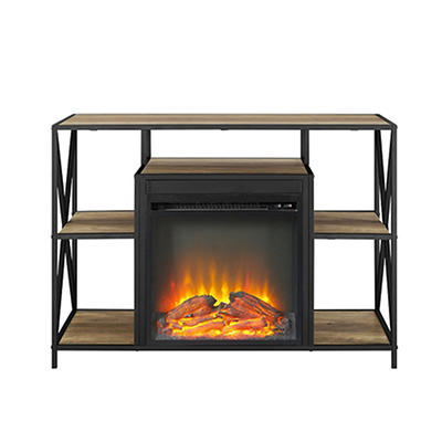 "W. Trends 40"" X-Frame Fireplace Stand - Rustic Oak"