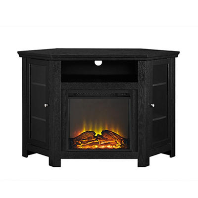 "W. Trends 48"" Corner Fireplace TV Stand - Black"