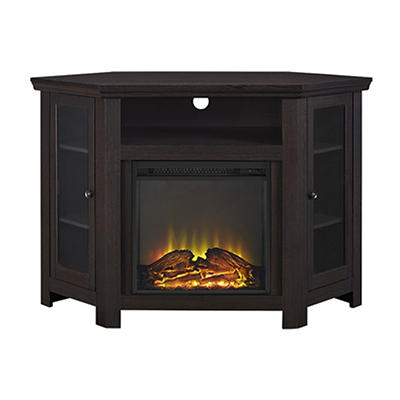 "W. Trends 48"" Corner Fireplace TV Stand - Espresso"