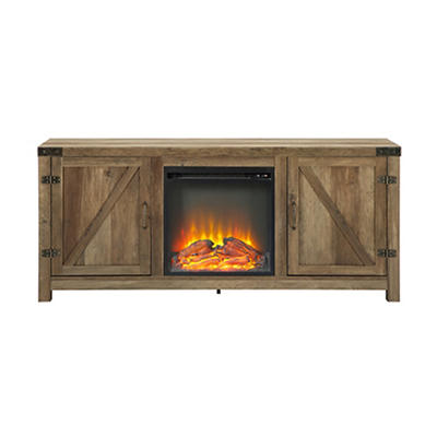 """W. Trends Emerson 58"""" Fireplace TV Stand for TVs Up to 65"""" - Rustic Oak"""