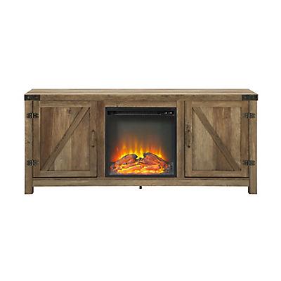 """W. Trends 58"""" Barn Door Fireplace TV Stand - Rustic Oak"""