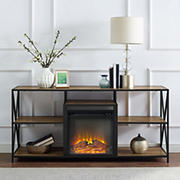 """W. Trends 60"""" Fireplace TV Stand - Barnwood"""