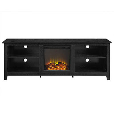 "W. Trends 70"" Fireplace TV Console - Black"