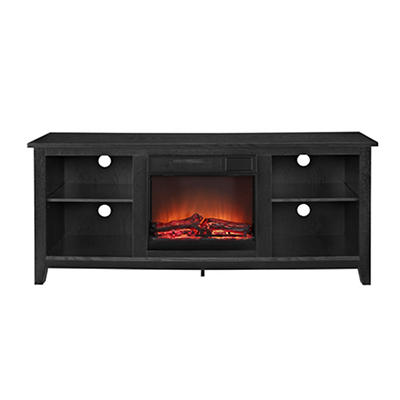 "W. Trends 58"" Fireplace TV Console - Black"