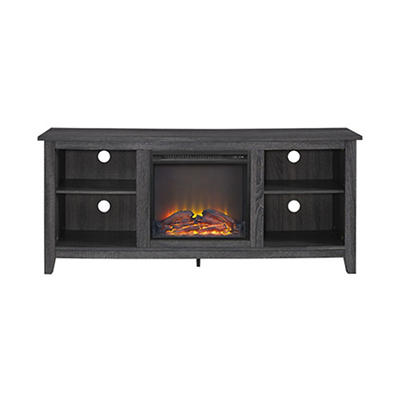 "W. Trends 58"" Fireplace TV Console - Charcoal"