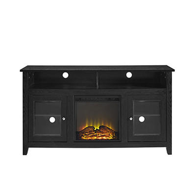 "W. Trends 58"" Highboy Fireplace TV Stand - Black"