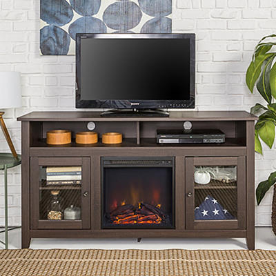"W. Trends 58"" Highboy Fireplace TV Stand Espresso"