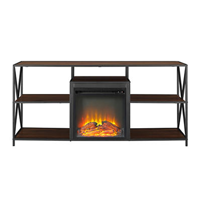 "W. Trends 60"" X-Frame Fireplace Stand - Dark Walnut"