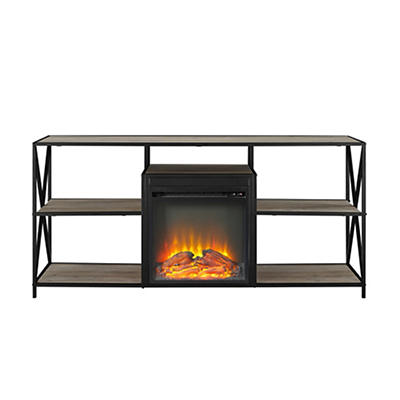 "W. Trends 60"" X-Frame Fireplace Stand Grey Wash"