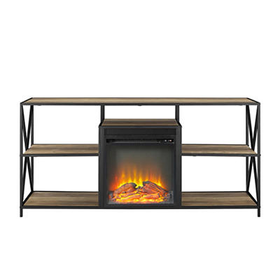 "W. Trends 60"" X-Frame Fireplace Stand Rustic Oak"