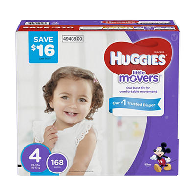 Huggies Little Movers Diapers, Size 4, 168 ct.