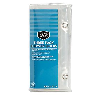 Berkley Jensen Heavy Duty Shower Curtain Liners, 3 pk.