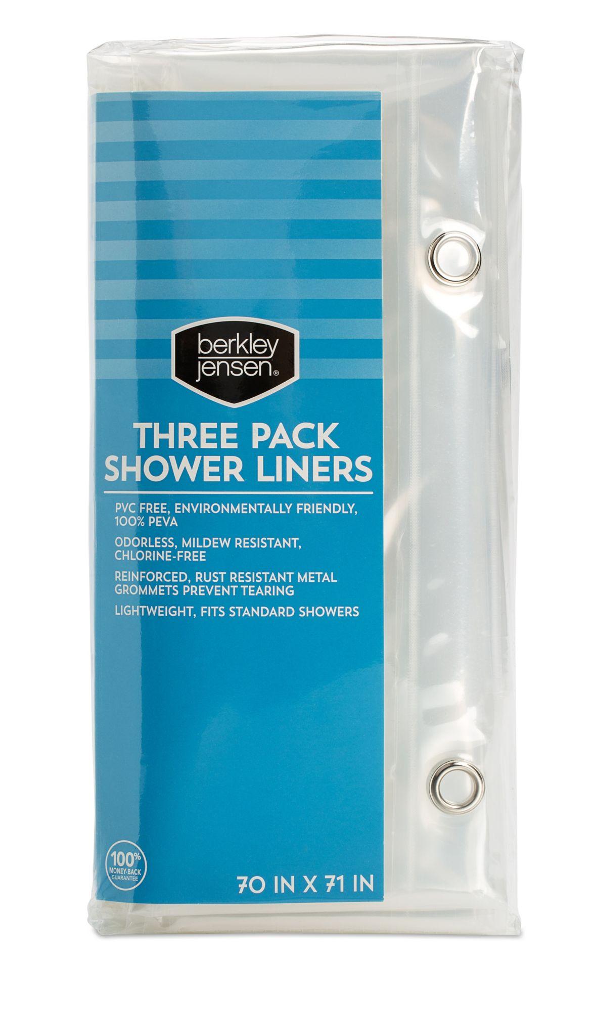 Berkley Jensen Heavy Duty Shower Curtain Liners 3 Pk