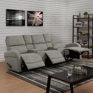 ProLounger 3-Seat Recliner Sofa with Storage Console - Gray Chenille ...