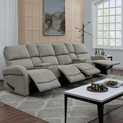 ProLounger 4-Seat Recliner Sofa with Storage Console - Gray Chenille