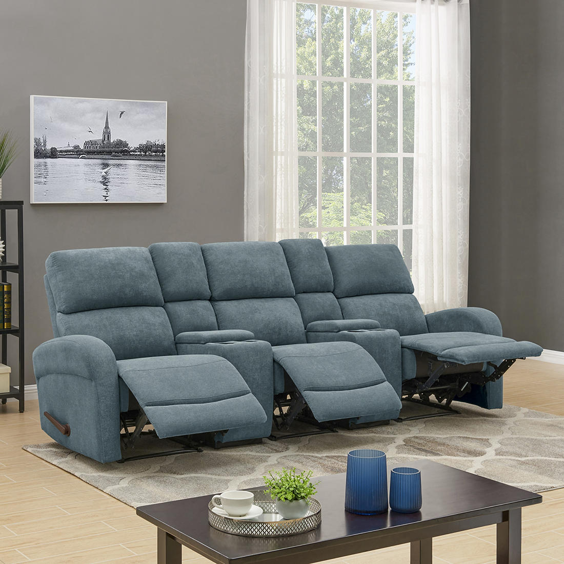 ProLounger 3-Seat Recliner Sofa with Storage Console - Blue Chenille