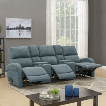 ProLounger 3-Seat Recliner Sofa with Storage Console - Blue Chenille ...