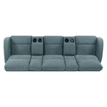 Prolounger 3 Seat Recliner Sofa With Storage Console Blue Chenille