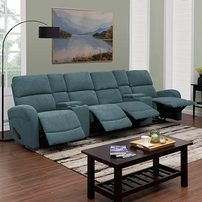 ProLounger 4-Seat Recliner Sofa with Storage Console - Blue Chenille