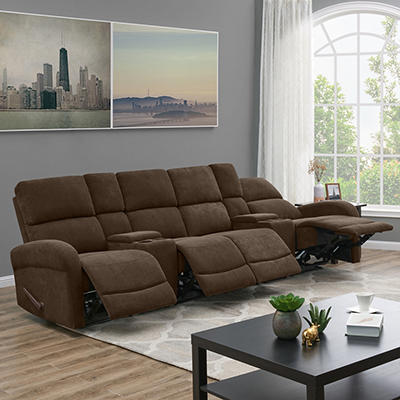 ProLounger 4-Seat Recliner Sofa with Storage Console - Chocolate
