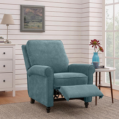 ProLounger Push-Back Recliner - Blue Chenille