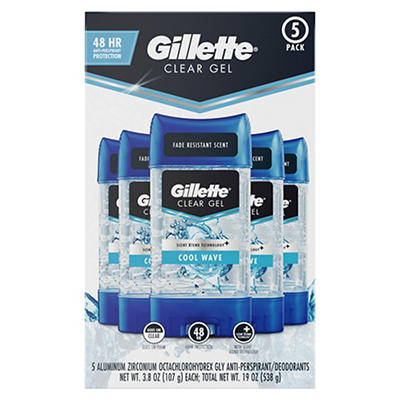 Gillette Clear Gel Cool Wave Antiperspirant/Deodorant, 5 pk./3.8 oz.