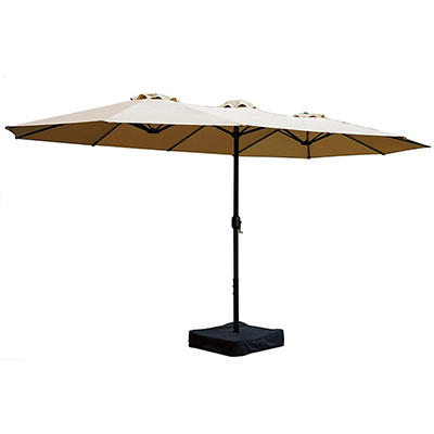 Berkley Jensen 15' Aluminum Twin Umbrella with Base