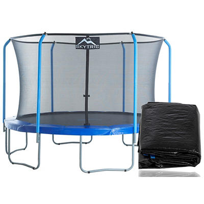 Skytric 11' Round Trampoline with Enclosure and Weather Cover