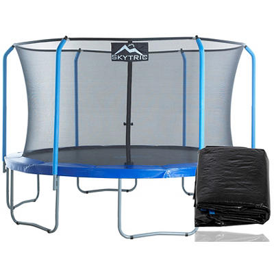 Skytric 13' Round Trampoline with Enclosure and Weather Cover