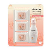 Aveeno Ultra-Calming Foaming Cleanser and Makeup Remover & Cleansing Oil-Free Makeup Removing Wipes, 6 fl. oz. + 3 pk./25 ct.