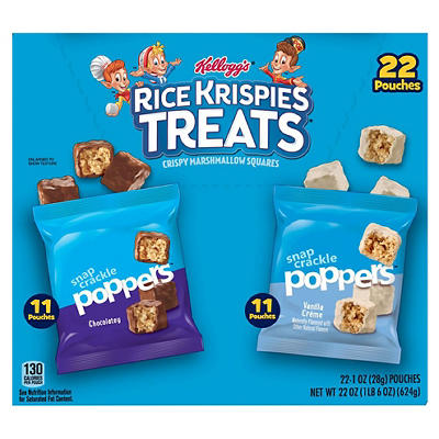 Kellogg's Rice Krispies Treats Poppers Marshmallow Squares Variety Pac